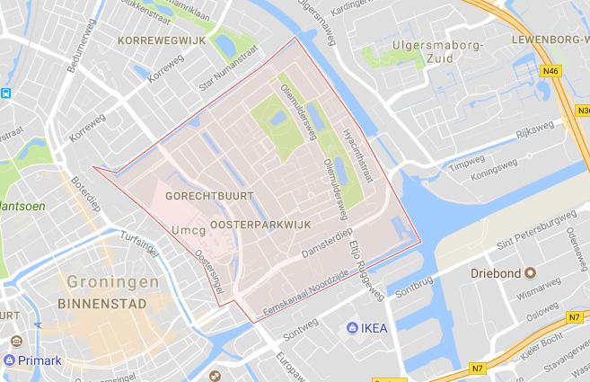 Het roze deel is de Oosterparkwijk